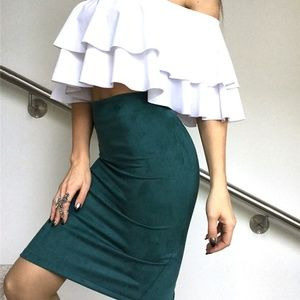 Dresses & Skirts - Womens Suede Pencil Midi Skirt in Peacock Green